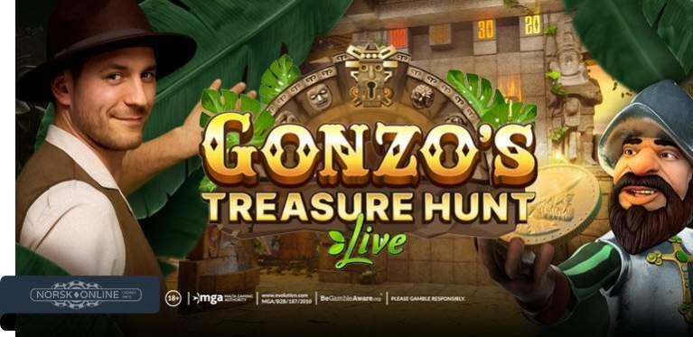 Mann som spiller Gonzo`s Treasure Hunt Live og karakteren Gonzo