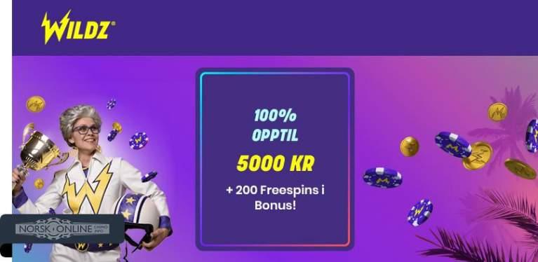 Wildz 100% opptil 5000 kr