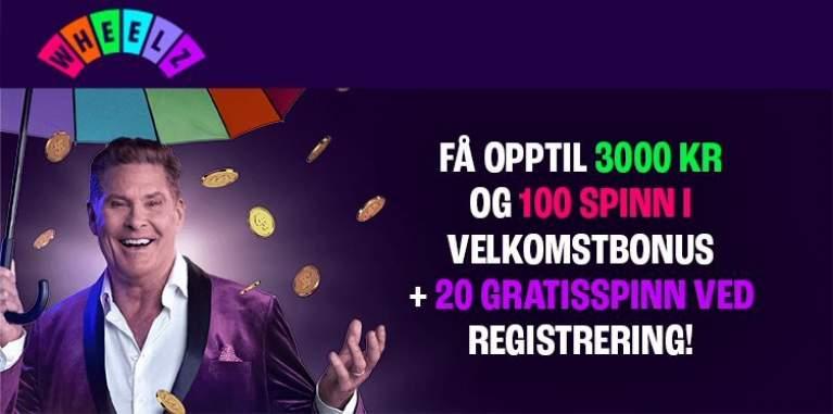 Få opptil 3000 kr og 100 spinn i velkomstbonus + 20 gratisspinn ved registrering!